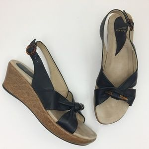 DANSKO Alize Black Leather Slingback Wedge Sandals